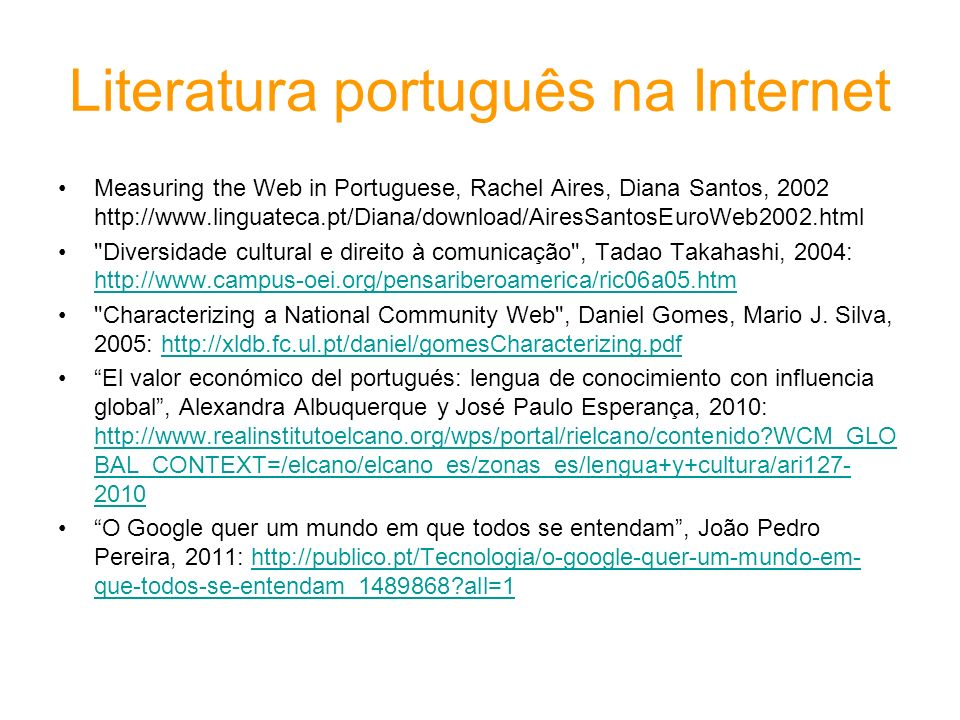 Literatura português na Internet