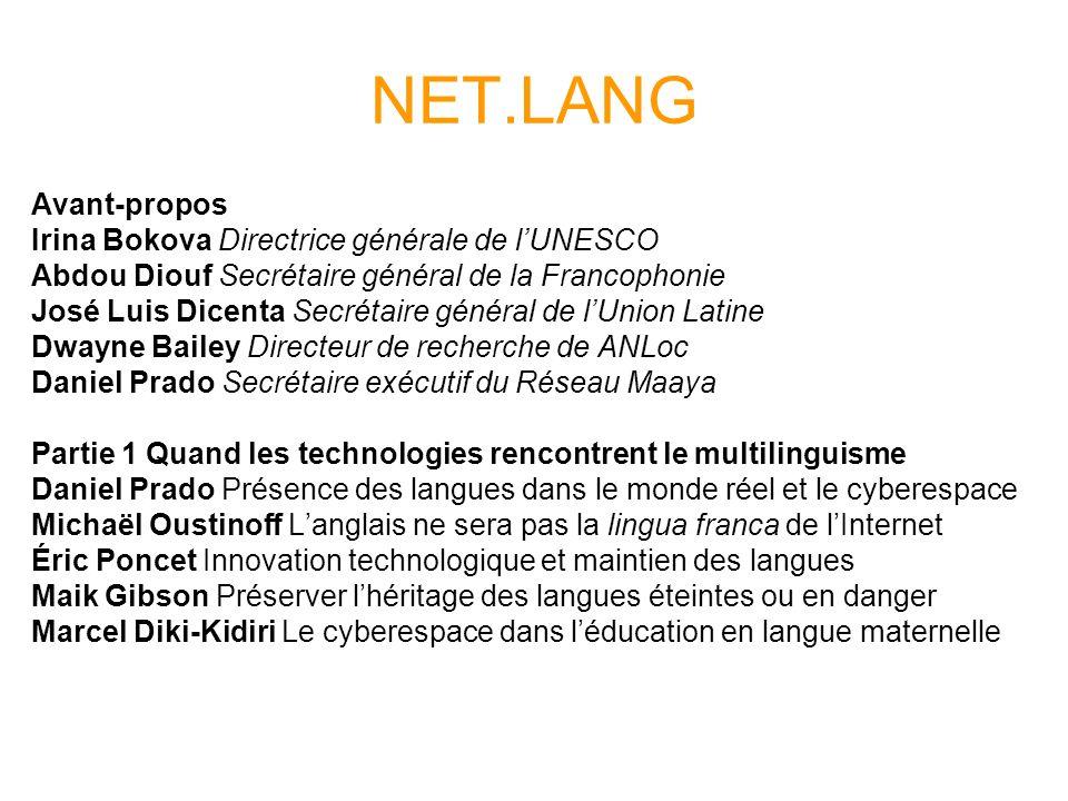NET.LANG Avant-propos Irina Bokova Directrice générale de l'UNESCO