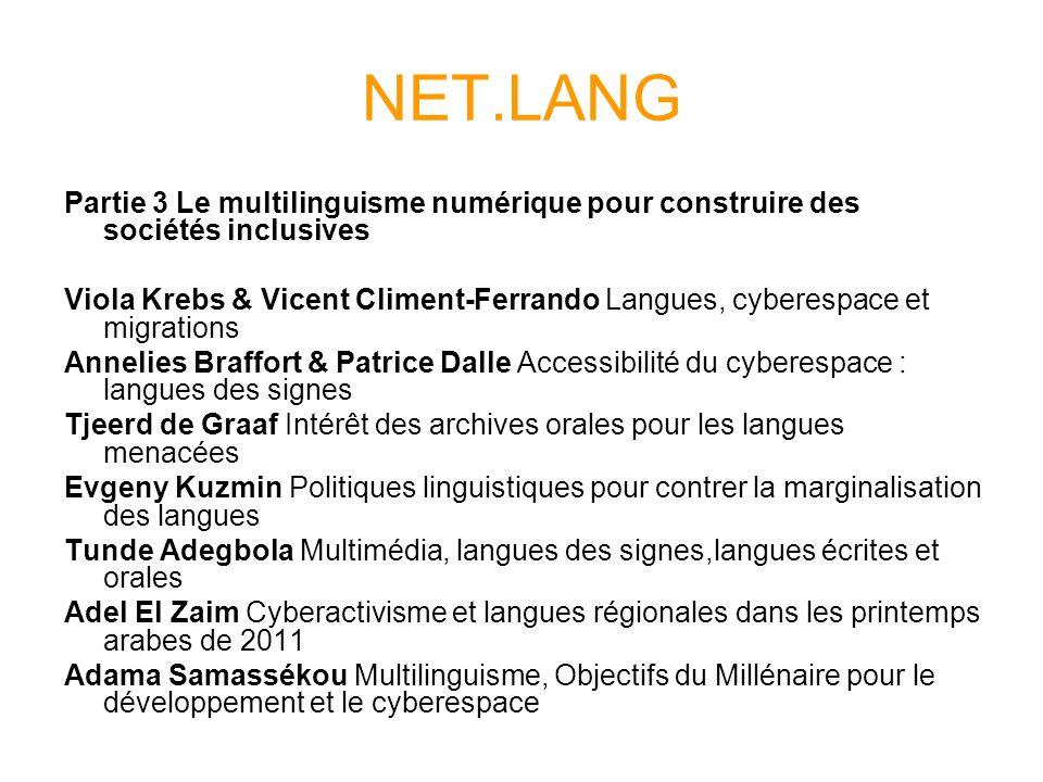 NET.LANG Partie 3 Le multilinguisme numérique pour construire des sociétés inclusives.
