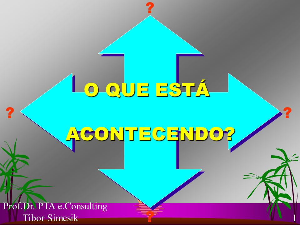 O QUE ESTÁ ACONTECENDO Prof.Dr. PTA e.Consulting