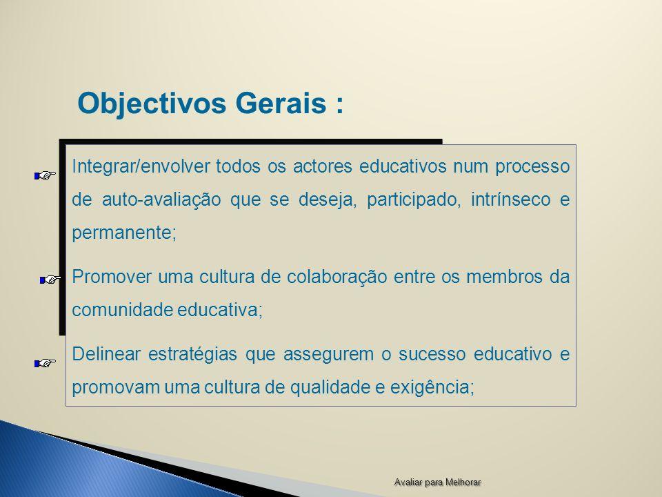 Objectivos Gerais : Integrar/envolver todos os actores educativos num processo de auto-avaliação que se deseja, participado, intrínseco e permanente;