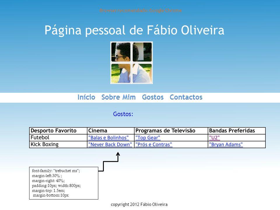 Página pessoal de Fábio Oliveira