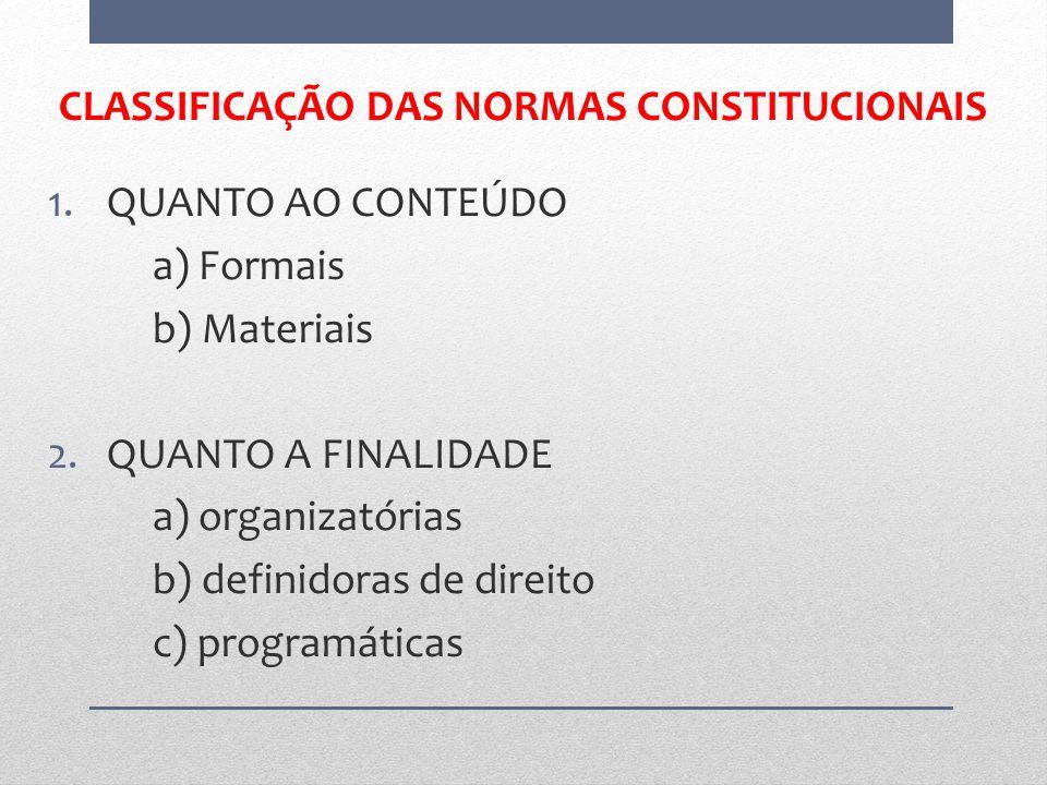CLASSIFICAÇÃO DAS NORMAS CONSTITUCIONAIS