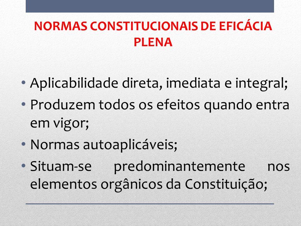NORMAS CONSTITUCIONAIS DE EFICÁCIA PLENA