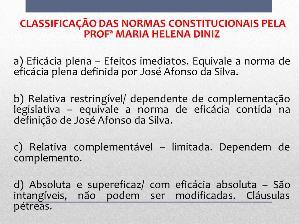 CLASSIFICAÇÃO DAS NORMAS CONSTITUCIONAIS PELA PROFª MARIA HELENA DINIZ