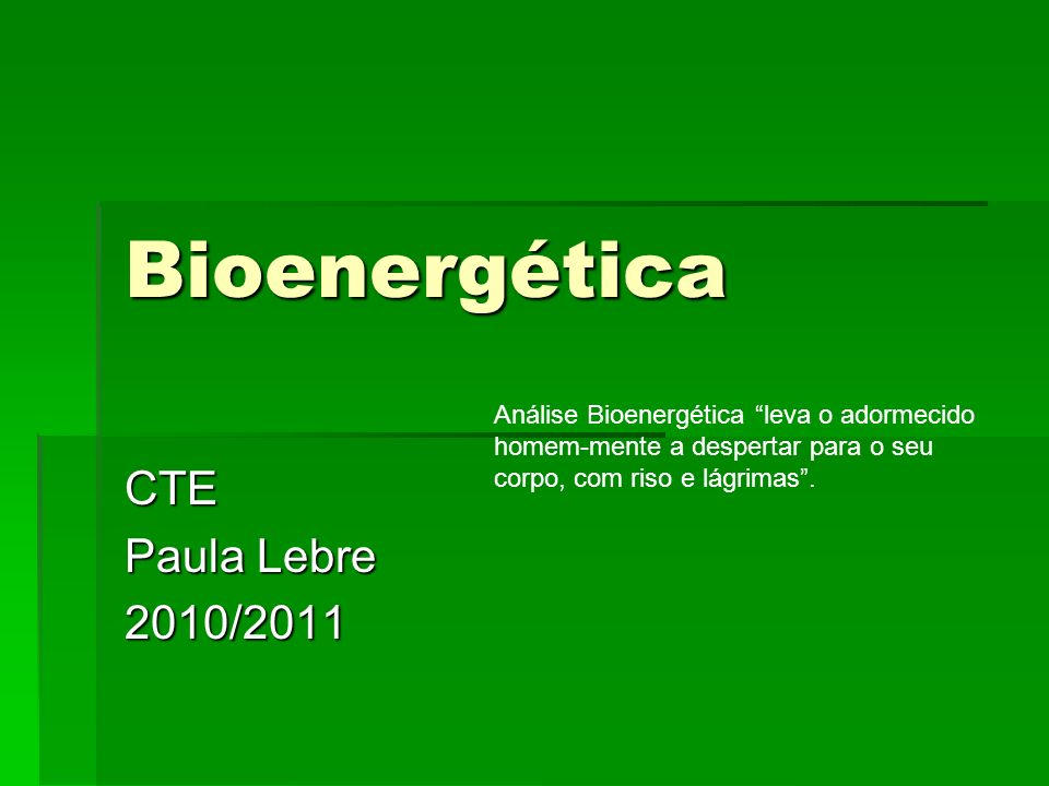 Bioenergética CTE Paula Lebre 2010/2011