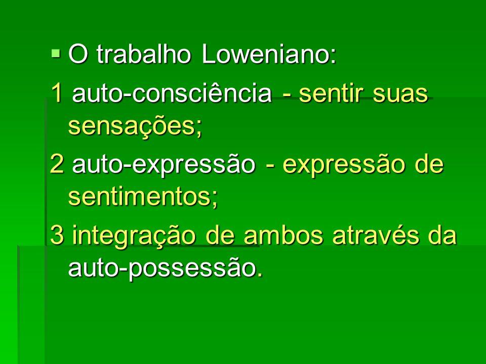O trabalho Loweniano: 1 auto-consciência - sentir suas sensações; 2 auto-expressão - expressão de sentimentos;