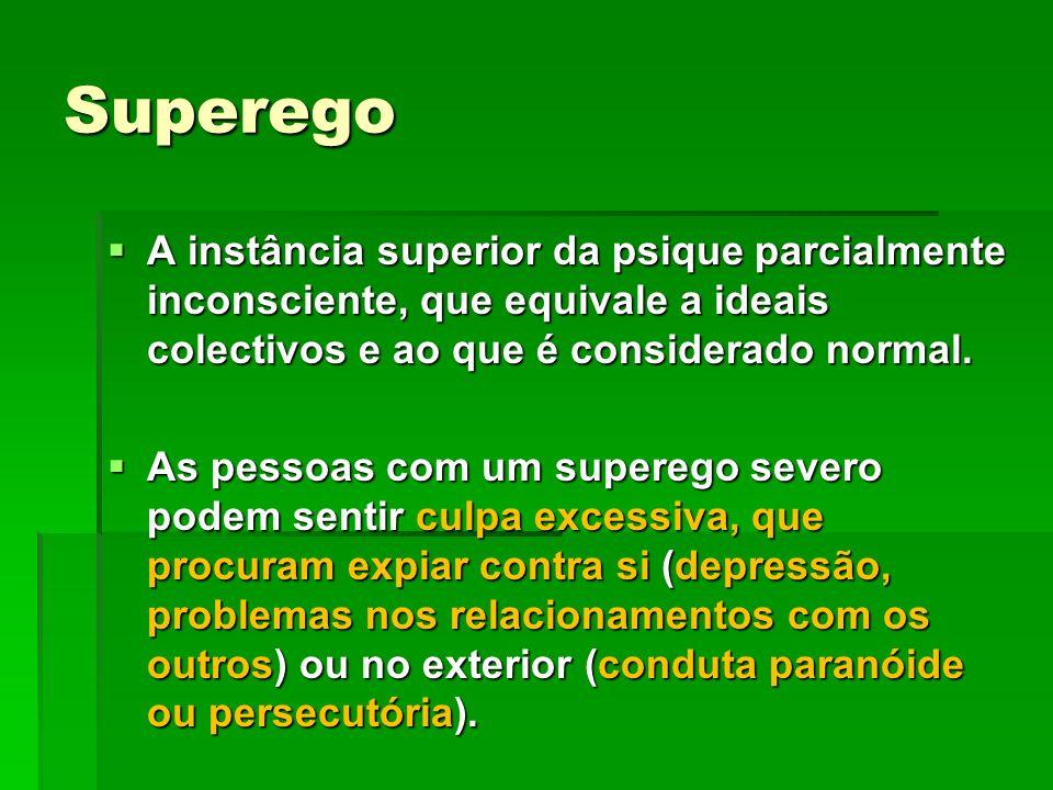 Superego A instância superior da psique parcialmente inconsciente, que equivale a ideais colectivos e ao que é considerado normal.