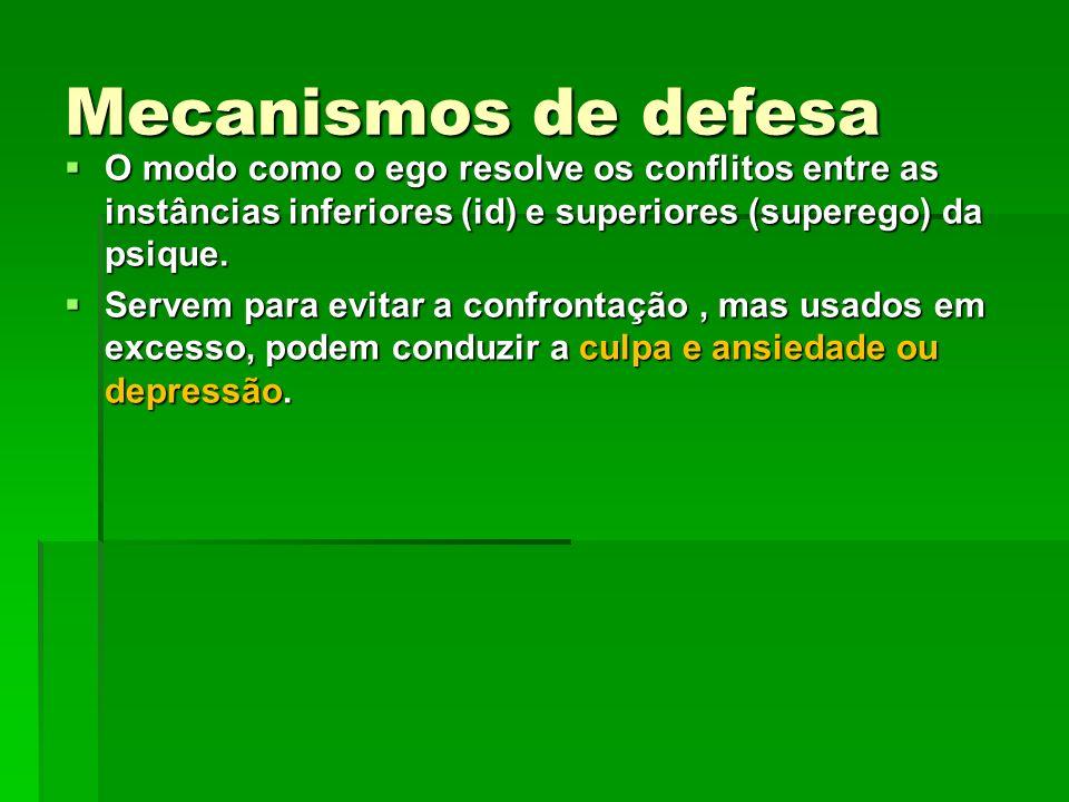 Mecanismos de defesa O modo como o ego resolve os conflitos entre as instâncias inferiores (id) e superiores (superego) da psique.