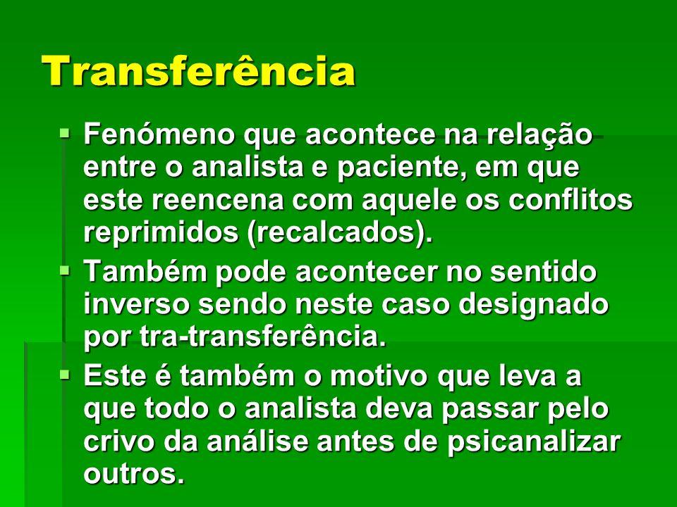 Transferência Fenómeno que acontece na relação entre o analista e paciente, em que este reencena com aquele os conflitos reprimidos (recalcados).