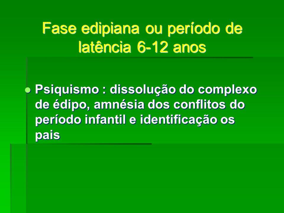 Fase edipiana ou período de latência 6-12 anos