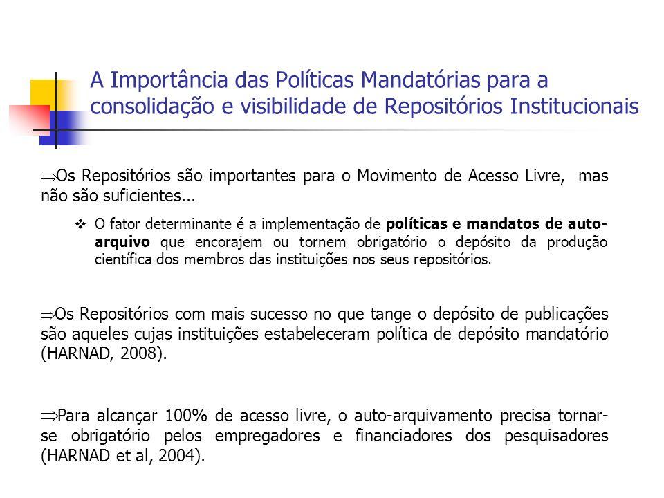 A Importância das Políticas Mandatórias para a consolidação e visibilidade de Repositórios Institucionais