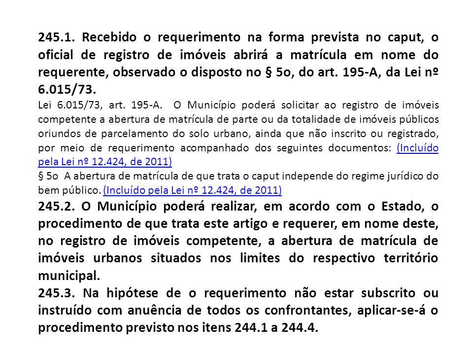 245.1. Recebido o requerimento na forma prevista no caput, o oficial de registro de imóveis abrirá a matrícula em nome do requerente, observado o disposto no § 5o, do art. 195-A, da Lei nº 6.015/73.