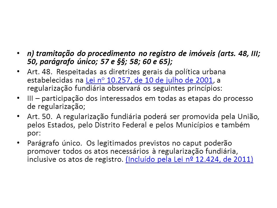 n) tramitação do procedimento no registro de imóveis (arts