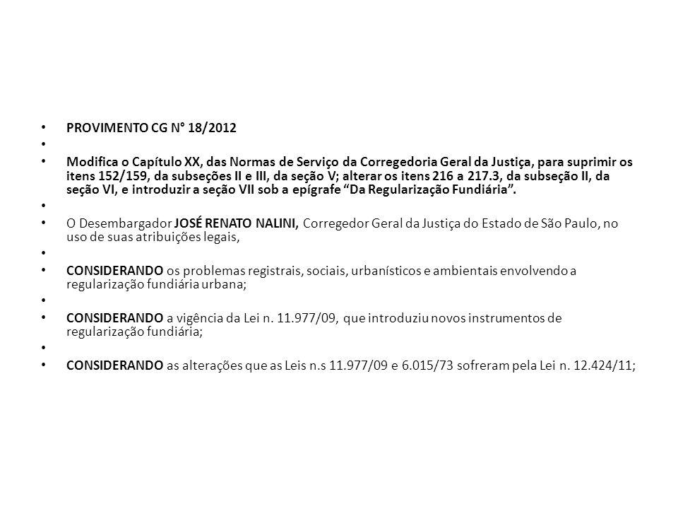 PROVIMENTO CG N° 18/2012