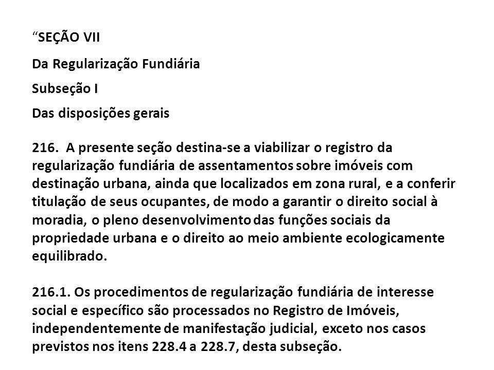 Da Regularização Fundiária Subseção I Das disposições gerais