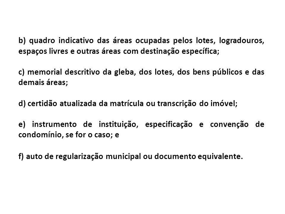 b) quadro indicativo das áreas ocupadas pelos lotes, logradouros, espaços livres e outras áreas com destinação específica;
