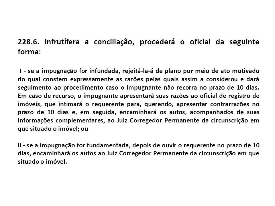 228.6. Infrutífera a conciliação, procederá o oficial da seguinte forma: