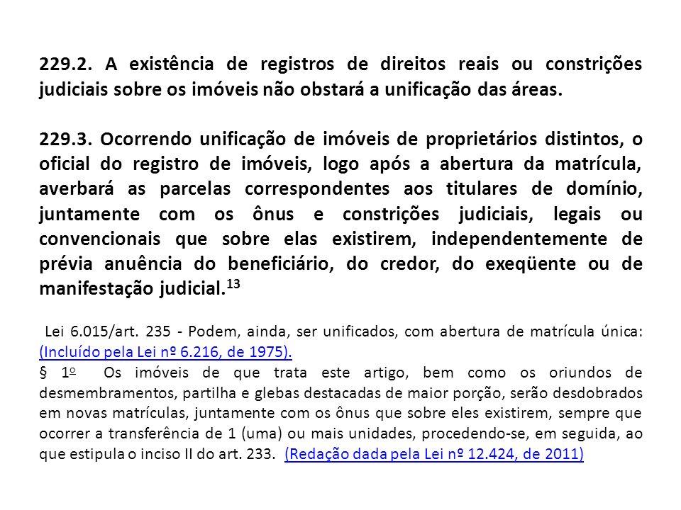 229.2. A existência de registros de direitos reais ou constrições judiciais sobre os imóveis não obstará a unificação das áreas.