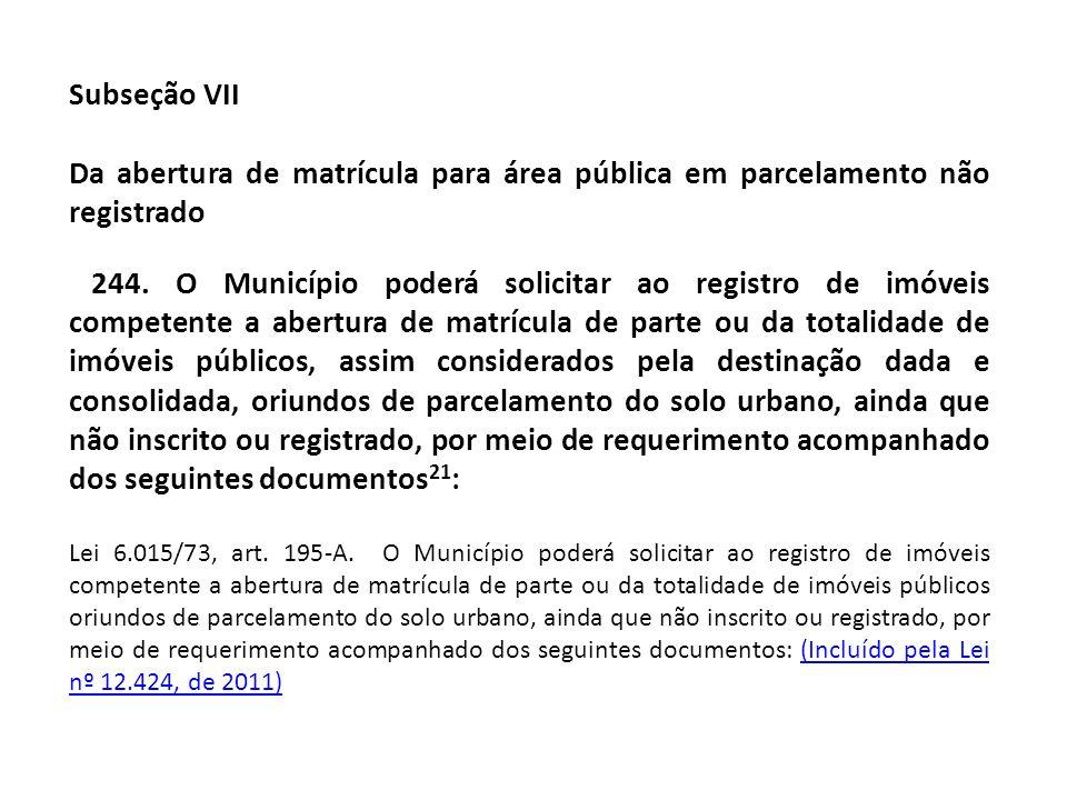 Subseção VII Da abertura de matrícula para área pública em parcelamento não registrado.