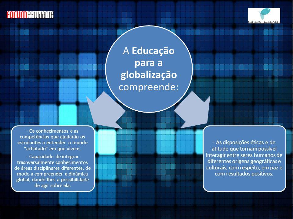 A Educação para a globalização compreende: