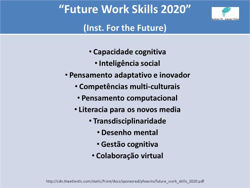 Future Work Skills 2020 (Inst. For the Future) Capacidade cognitiva