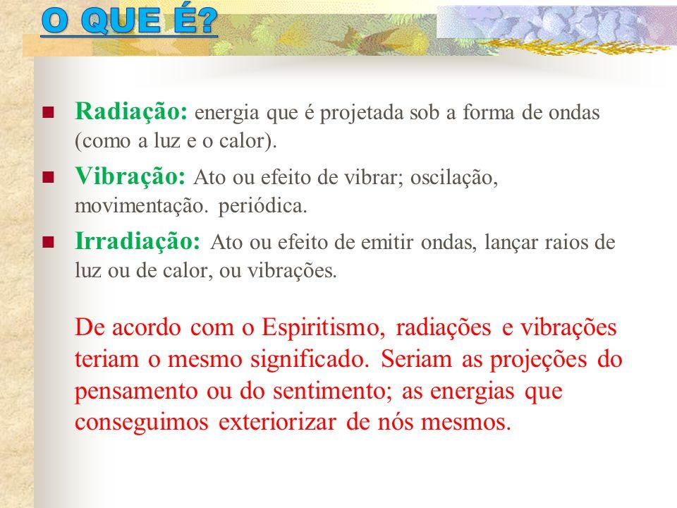 O QUE É Radiação: energia que é projetada sob a forma de ondas (como a luz e o calor).