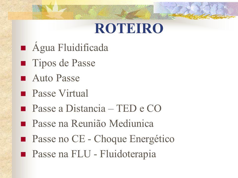 ROTEIRO Água Fluidificada Tipos de Passe Auto Passe Passe Virtual