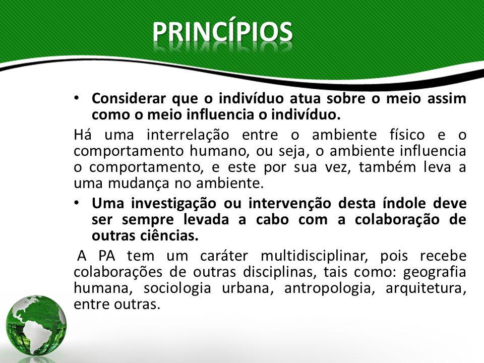 PRINCÍPIOS Considerar que o indivíduo atua sobre o meio assim como o meio influencia o indivíduo.