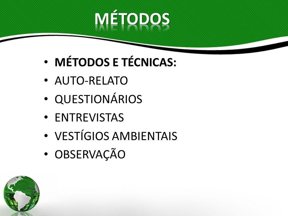 MÉTODOS MÉTODOS E TÉCNICAS: AUTO-RELATO QUESTIONÁRIOS ENTREVISTAS