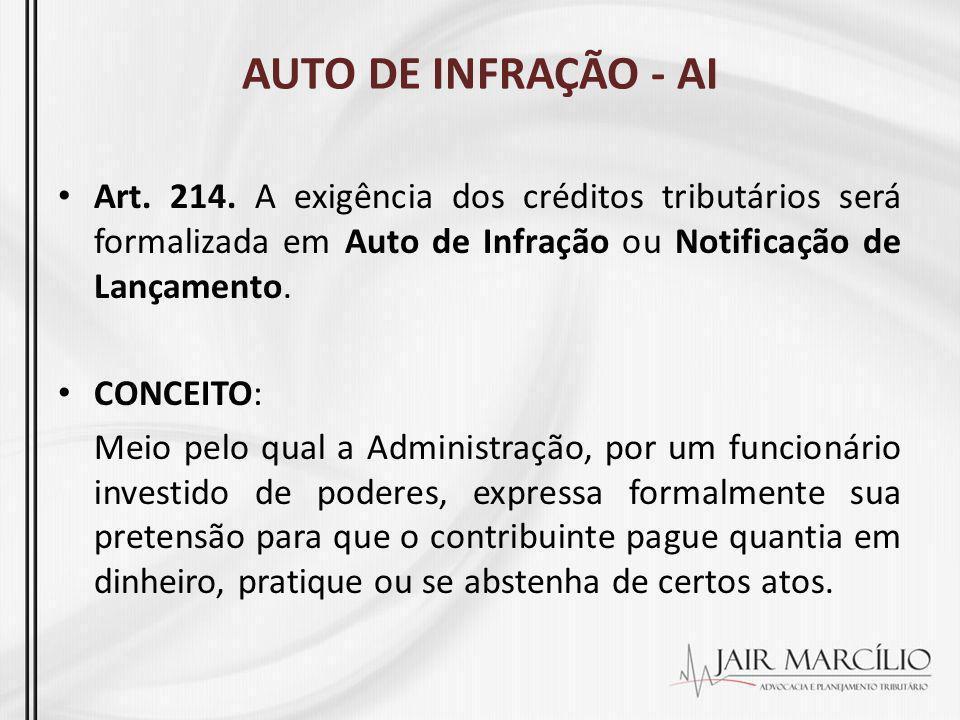 AUTO DE INFRAÇÃO - AI Art. 214. A exigência dos créditos tributários será formalizada em Auto de Infração ou Notificação de Lançamento.
