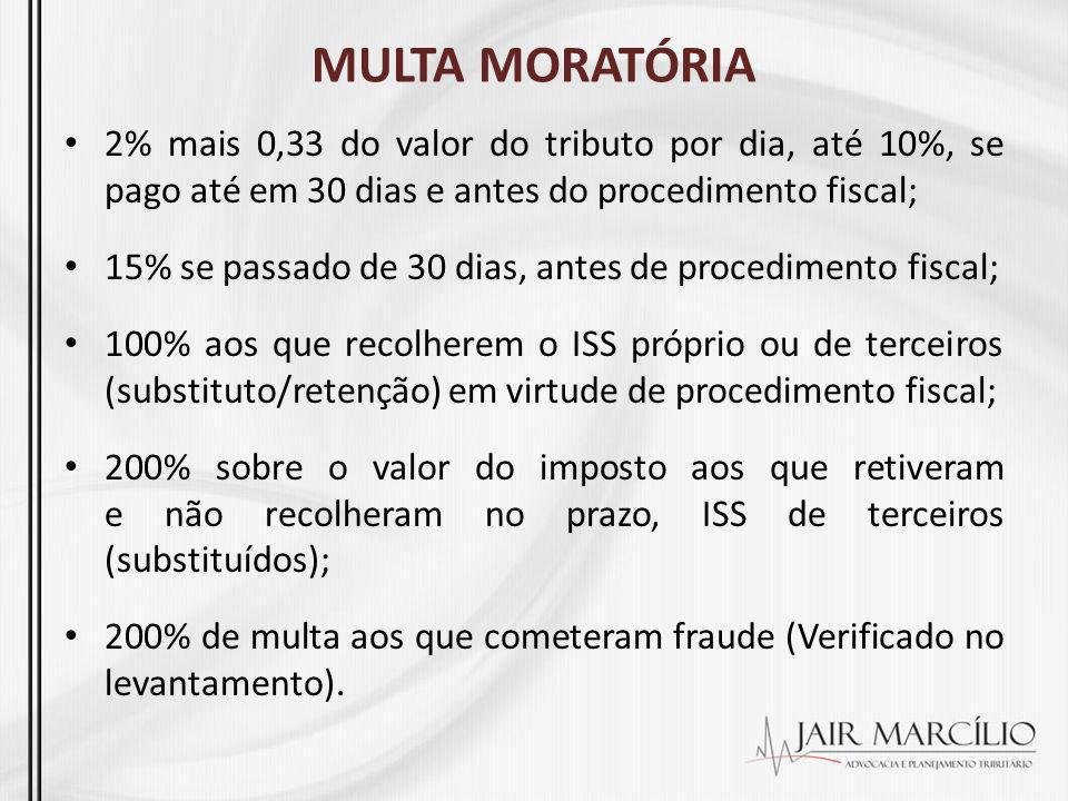 MULTA MORATÓRIA 2% mais 0,33 do valor do tributo por dia, até 10%, se pago até em 30 dias e antes do procedimento fiscal;