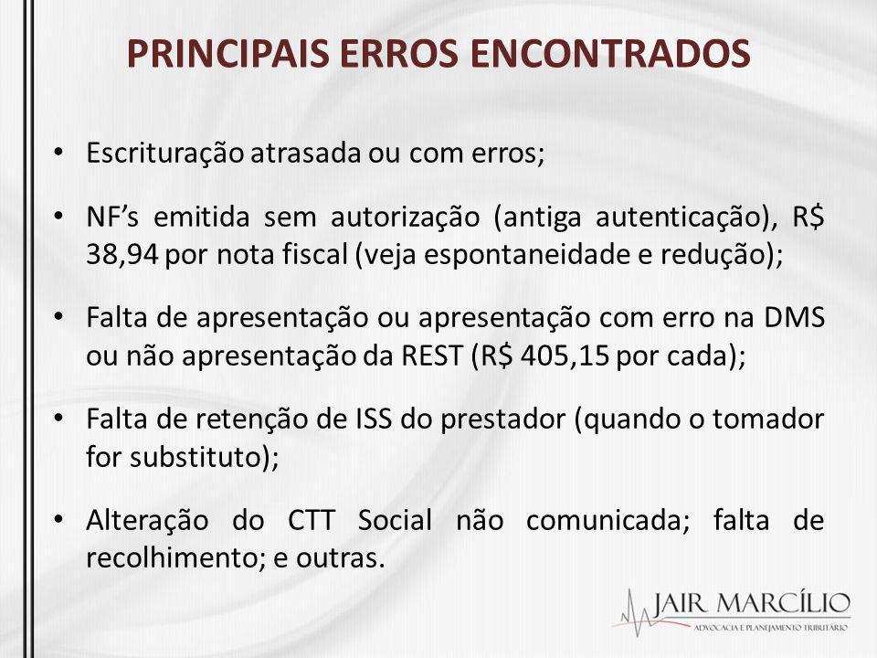 PRINCIPAIS ERROS ENCONTRADOS