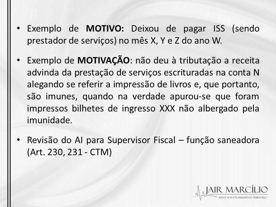 Exemplo de MOTIVO: Deixou de pagar ISS (sendo prestador de serviços) no mês X, Y e Z do ano W.