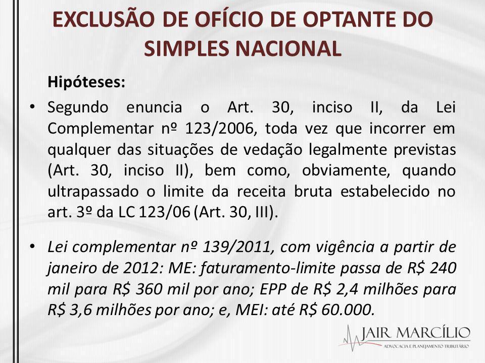 EXCLUSÃO DE OFÍCIO DE OPTANTE DO SIMPLES NACIONAL