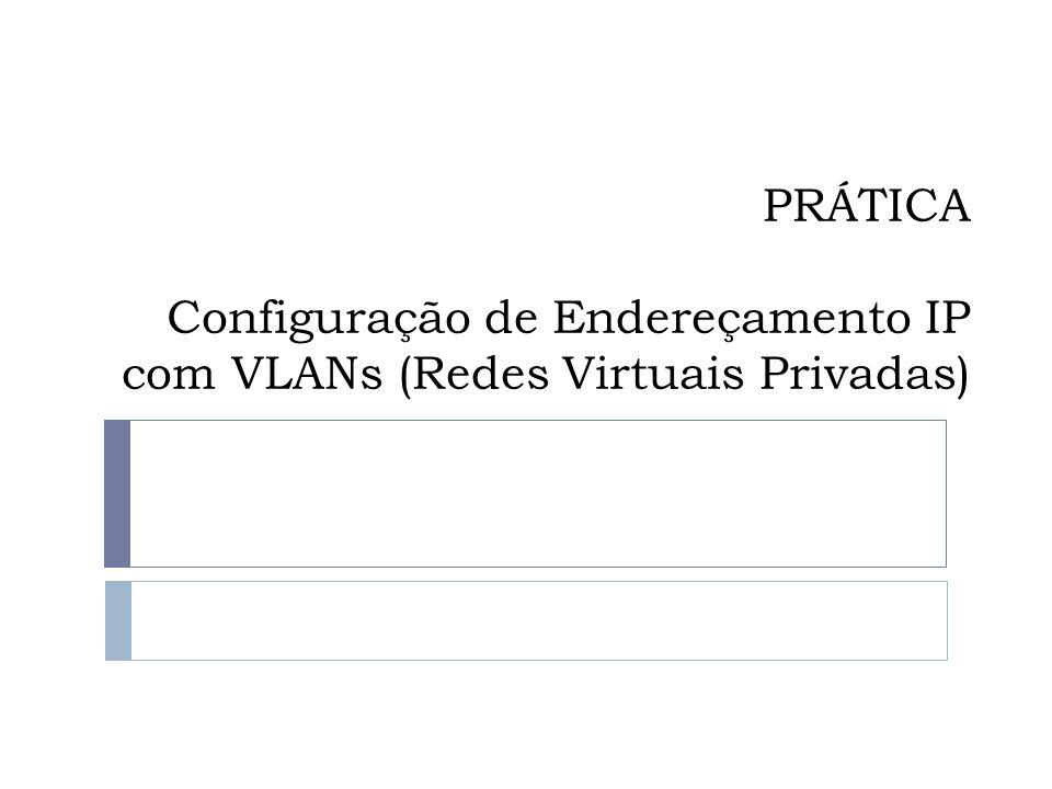 PRÁTICA Configuração de Endereçamento IP com VLANs (Redes Virtuais Privadas)