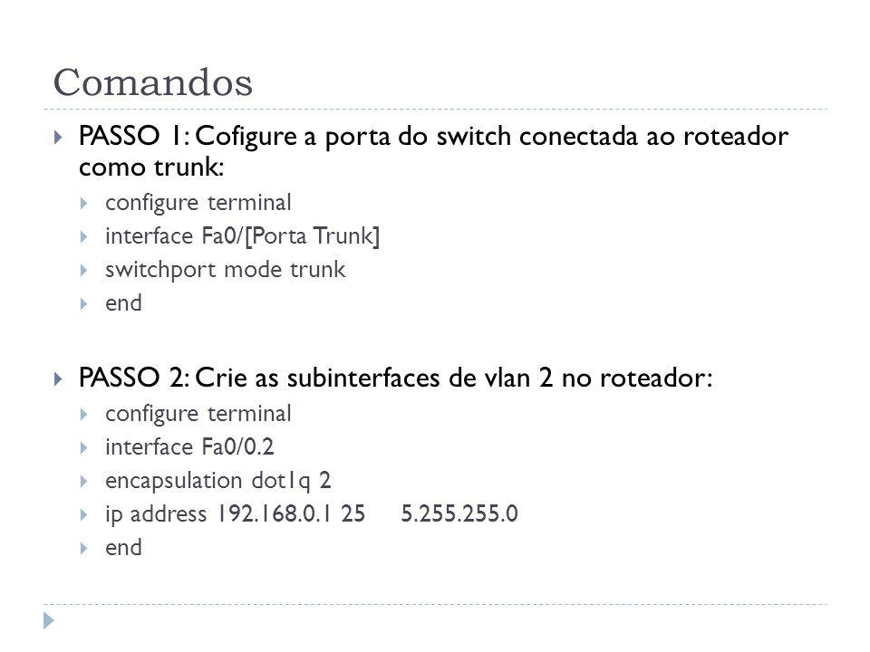 Comandos PASSO 1: Cofigure a porta do switch conectada ao roteador como trunk: configure terminal.