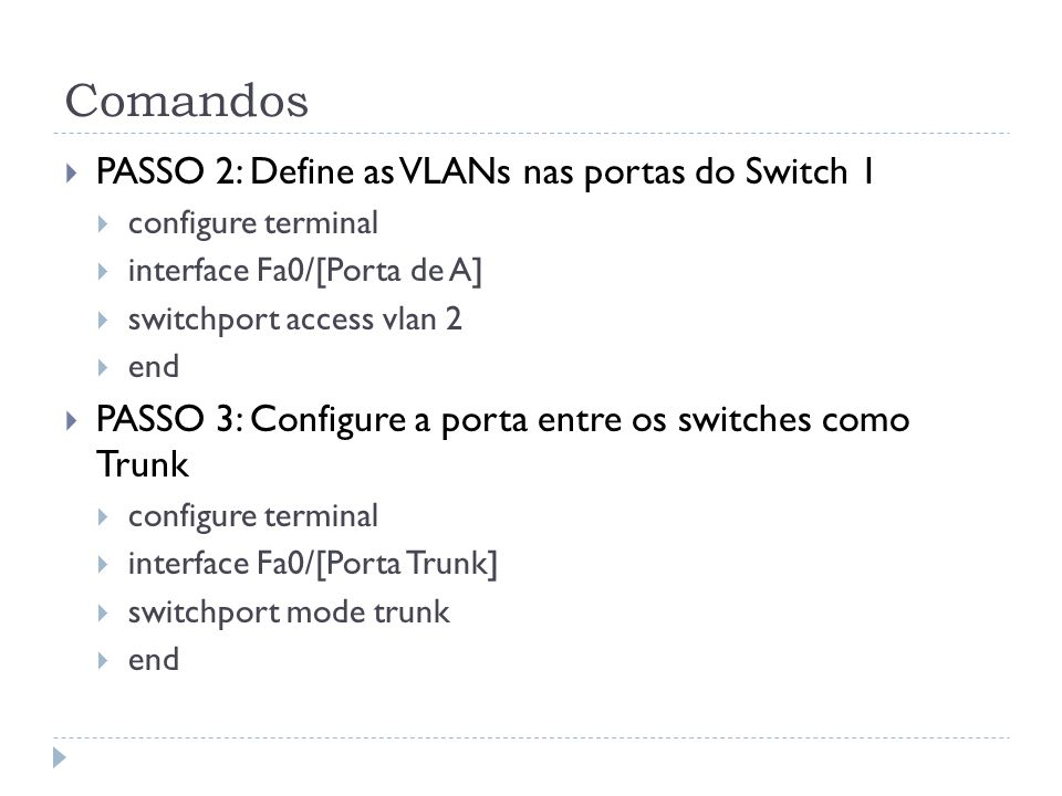 Comandos PASSO 2: Define as VLANs nas portas do Switch 1