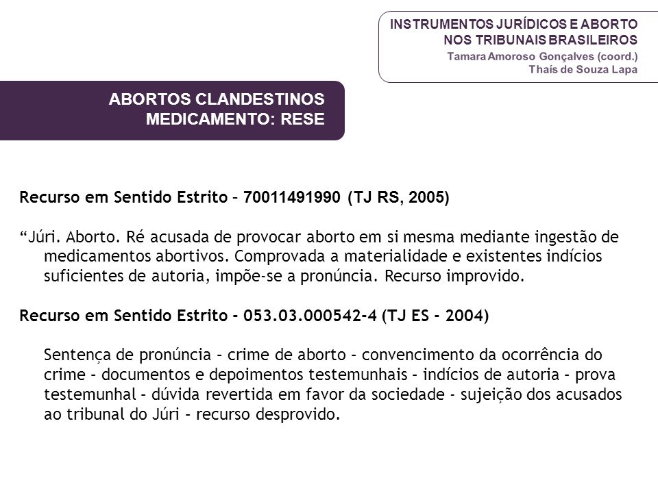 ABORTOS CLANDESTINOS MEDICAMENTO: RESE