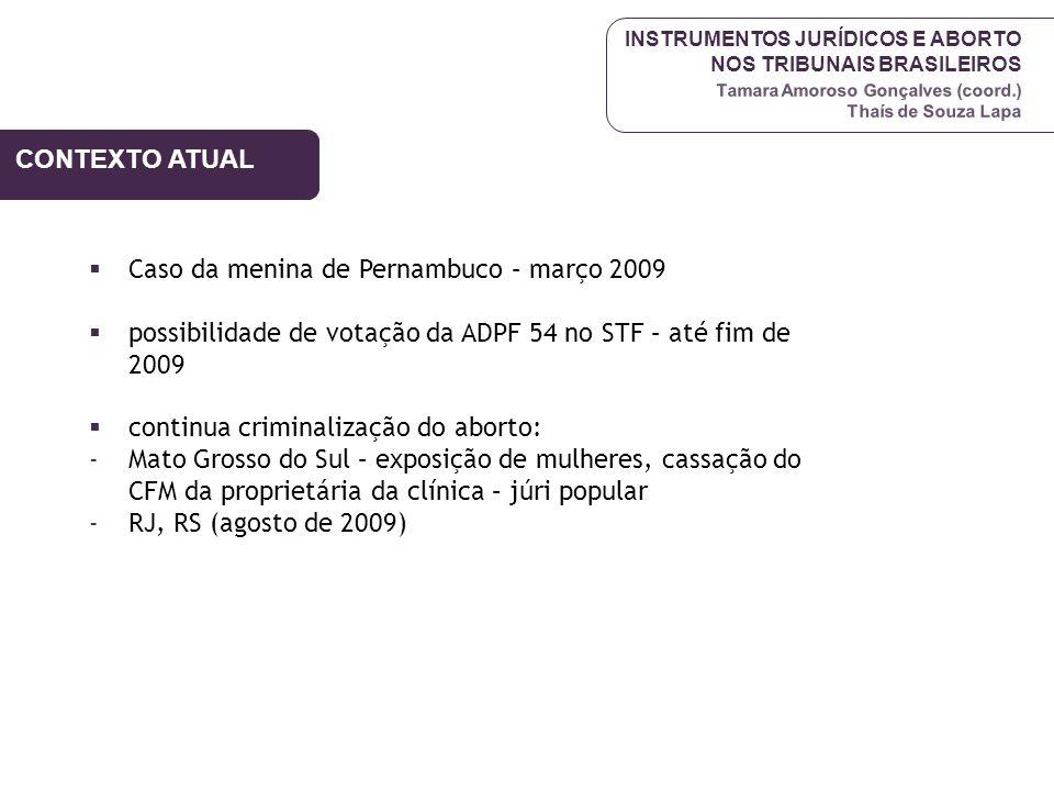 CONTEXTO ATUAL Caso da menina de Pernambuco – março 2009. possibilidade de votação da ADPF 54 no STF – até fim de 2009.