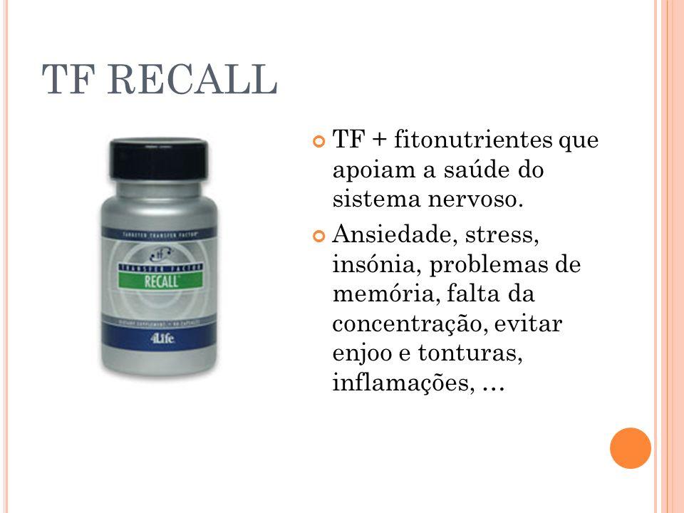 TF RECALL TF + fitonutrientes que apoiam a saúde do sistema nervoso.