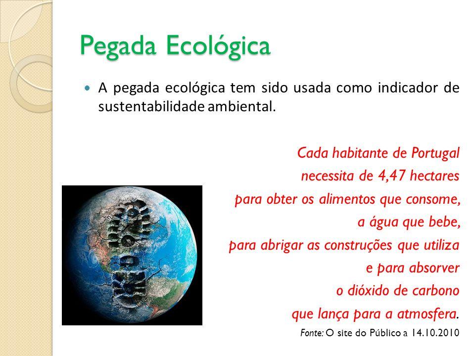 Pegada Ecológica A pegada ecológica tem sido usada como indicador de sustentabilidade ambiental. Cada habitante de Portugal.