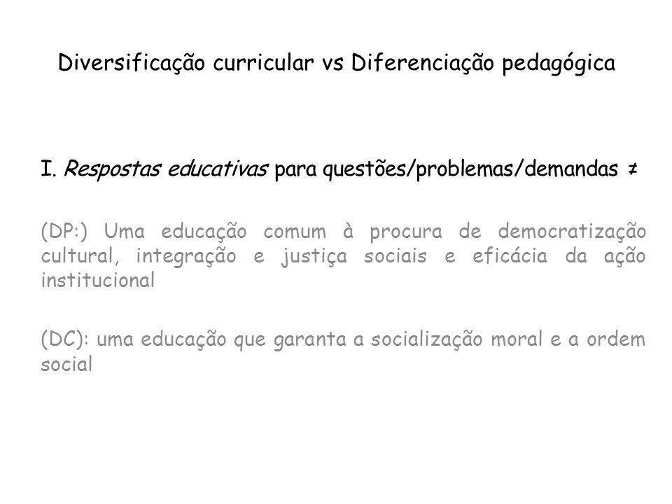 Diversificação curricular vs Diferenciação pedagógica