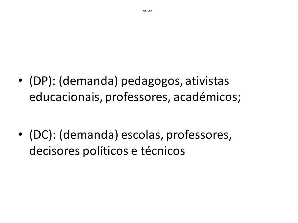 (DC): (demanda) escolas, professores, decisores políticos e técnicos