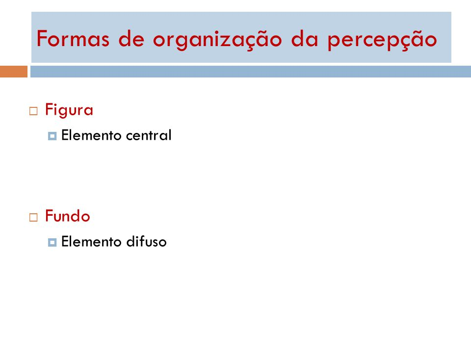 Formas de organização da percepção