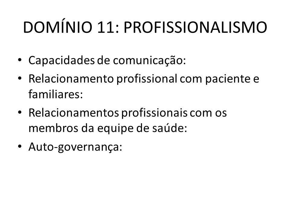 DOMÍNIO 11: PROFISSIONALISMO