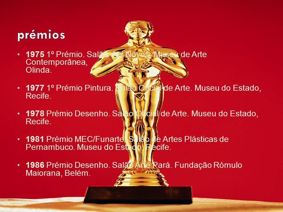 prémios 1975 1º Prémio. Salão dos Novos. Museu de Arte Contemporânea, Olinda.