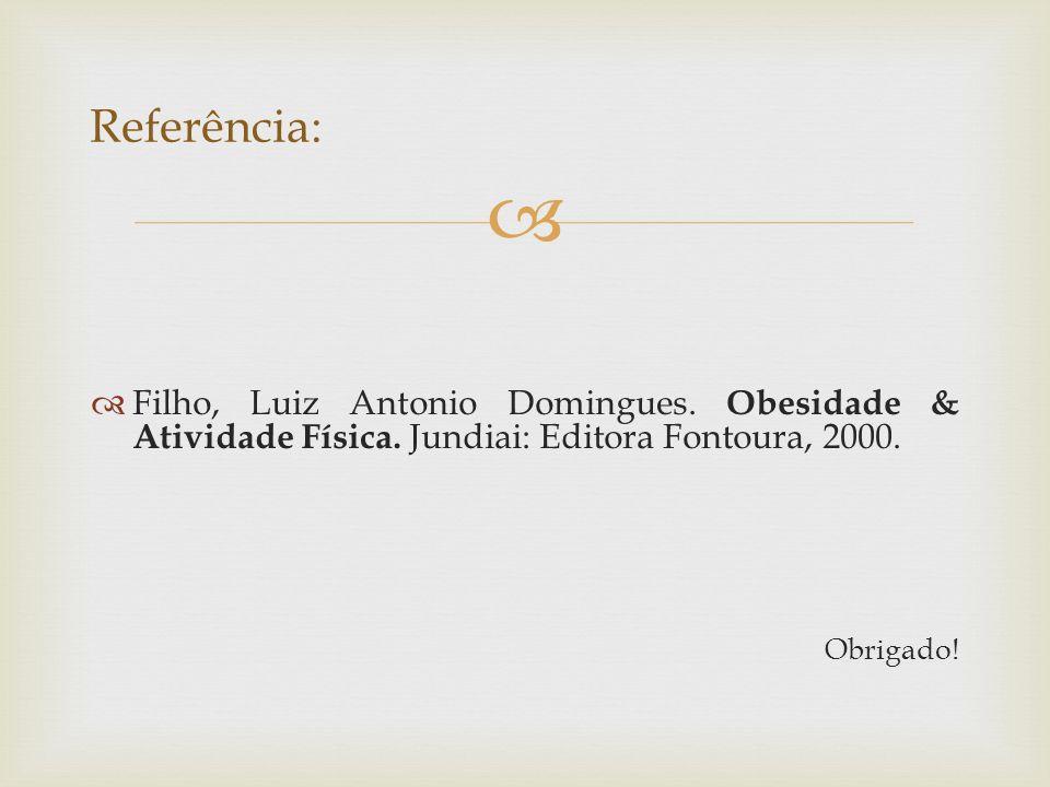 Referência: Filho, Luiz Antonio Domingues. Obesidade & Atividade Física. Jundiai: Editora Fontoura, 2000.