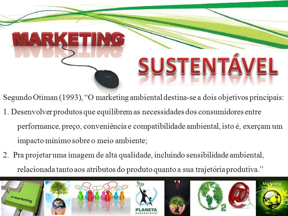 SUSTENTÁVEL Segundo Otiman (1993), O marketing ambiental destina-se a dois objetivos principais: