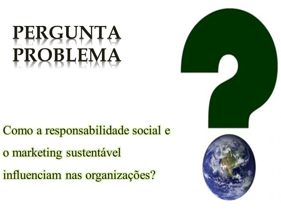 PERGUNTA PROBLEMA Como a responsabilidade social e o marketing sustentável influenciam nas organizações